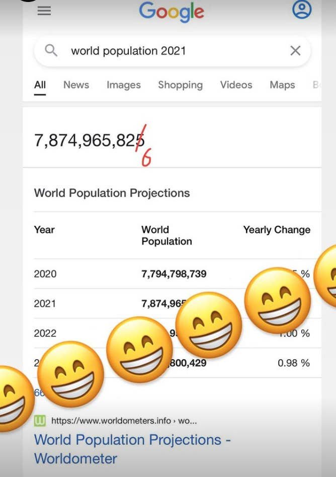 A screenshot of the world population count that Jopling posted to his Instagram Story