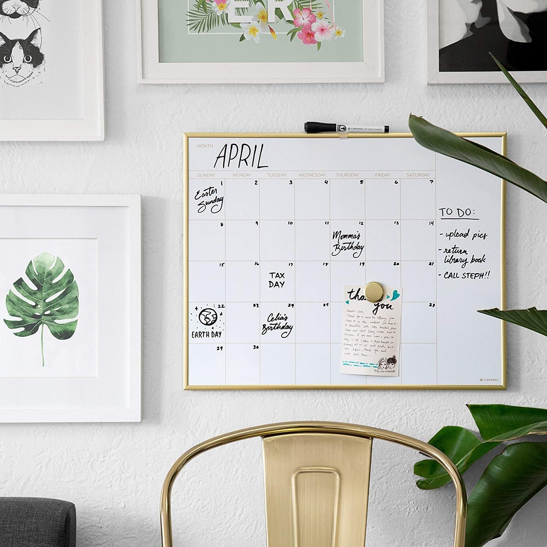 The calendar on a gallery wall