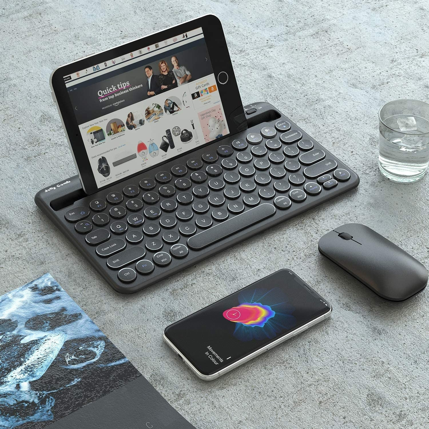 The Bluetooth keyboard with a tablet in the slot