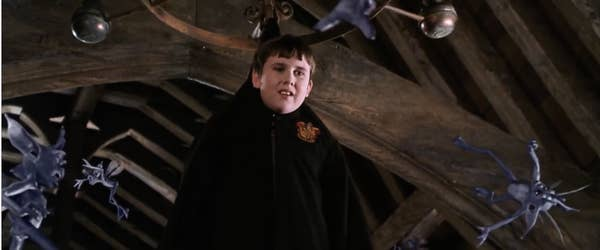 Neville hanging from the chandelier in the second Potter movie