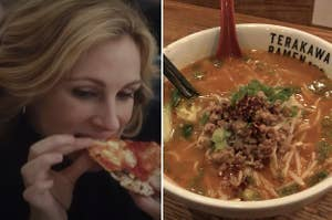 Side-by-side of a woman eating pizza and a bowl of ramen