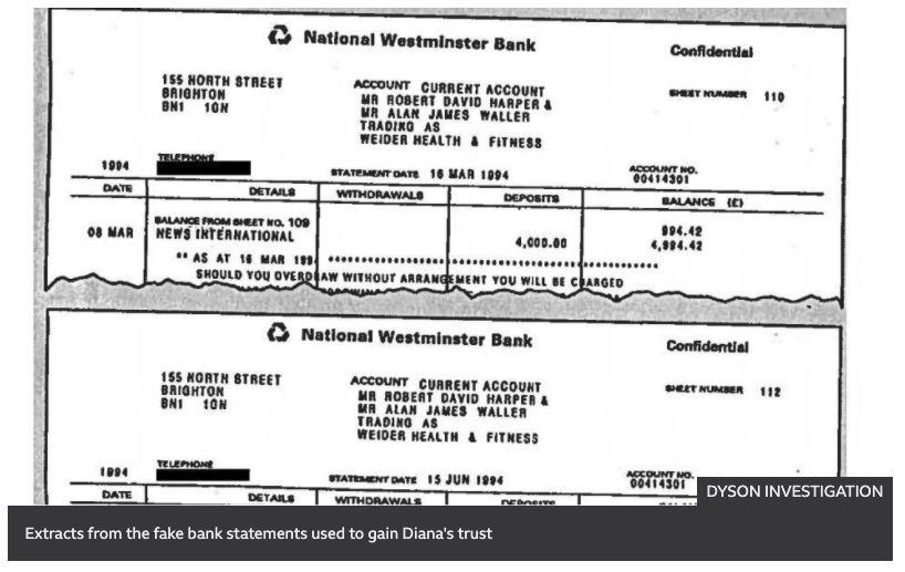 A forged bank document