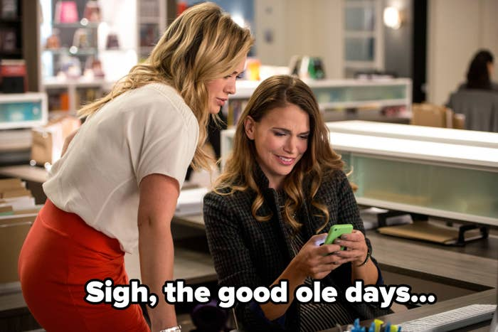 """A still from Season 1 of younger with Liza and Kelsey and the caption """"Sigh, the good ole days"""""""