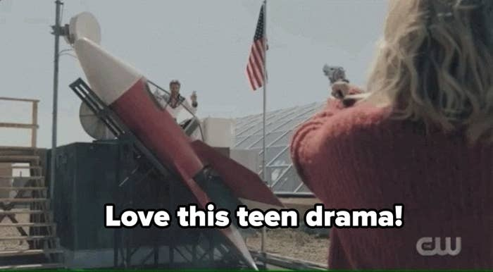"""Edgar in his rocket ship with the caption """"love this teen drama!"""""""