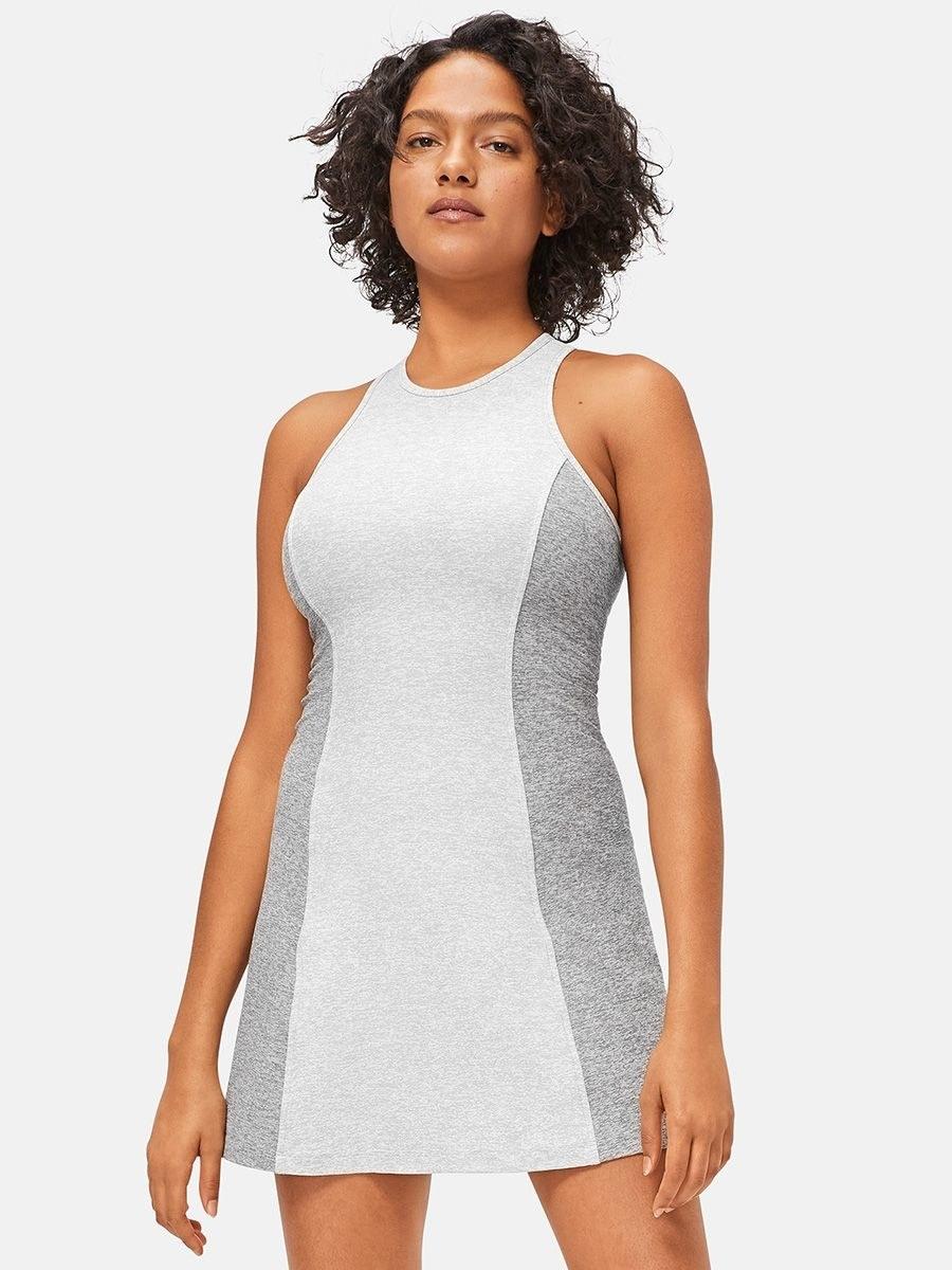 model wearing the light and dark gray dress