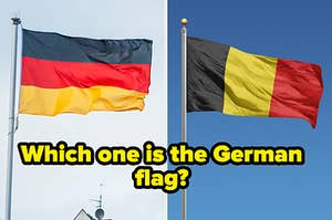 """On the left, a German flag flying in the wind, and on the right, the flag of Belgium flying in the wind labeled, """"Which one is the German flag?"""""""