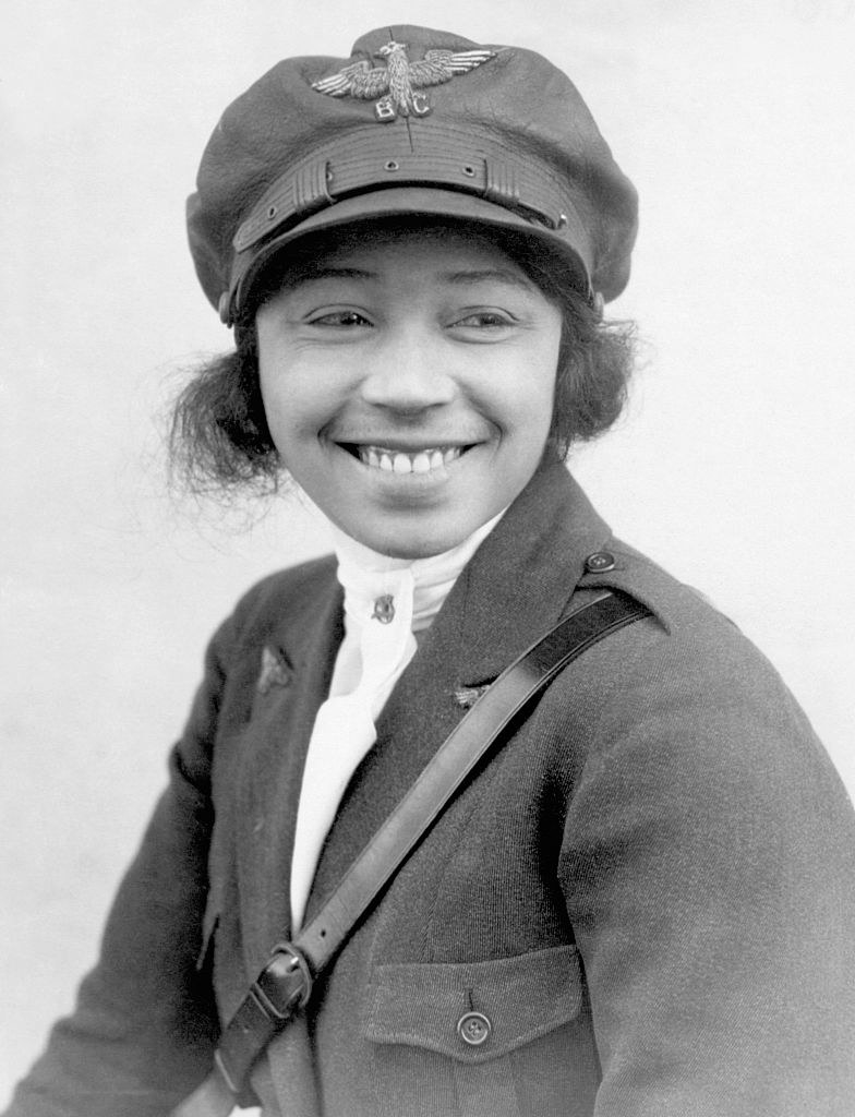 Bessie Coleman posing for a photo