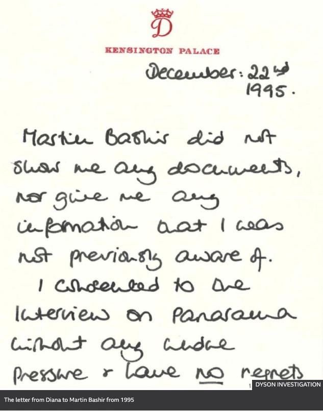A handwritten note from Princess Diana