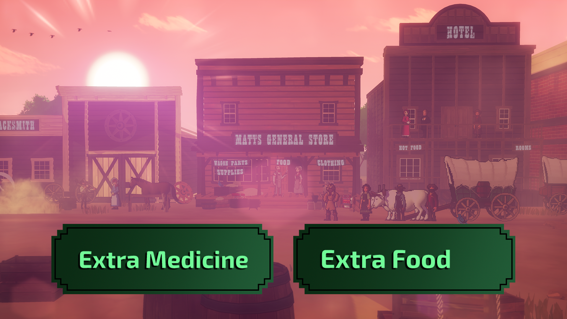 A town in the Old West, along with a graphic of two choices: Extra Medicine and Extra Food
