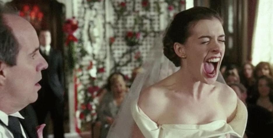 Anne Hathaway as a bride screaming