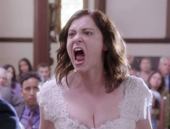Rachel Bloom as a screaming bride