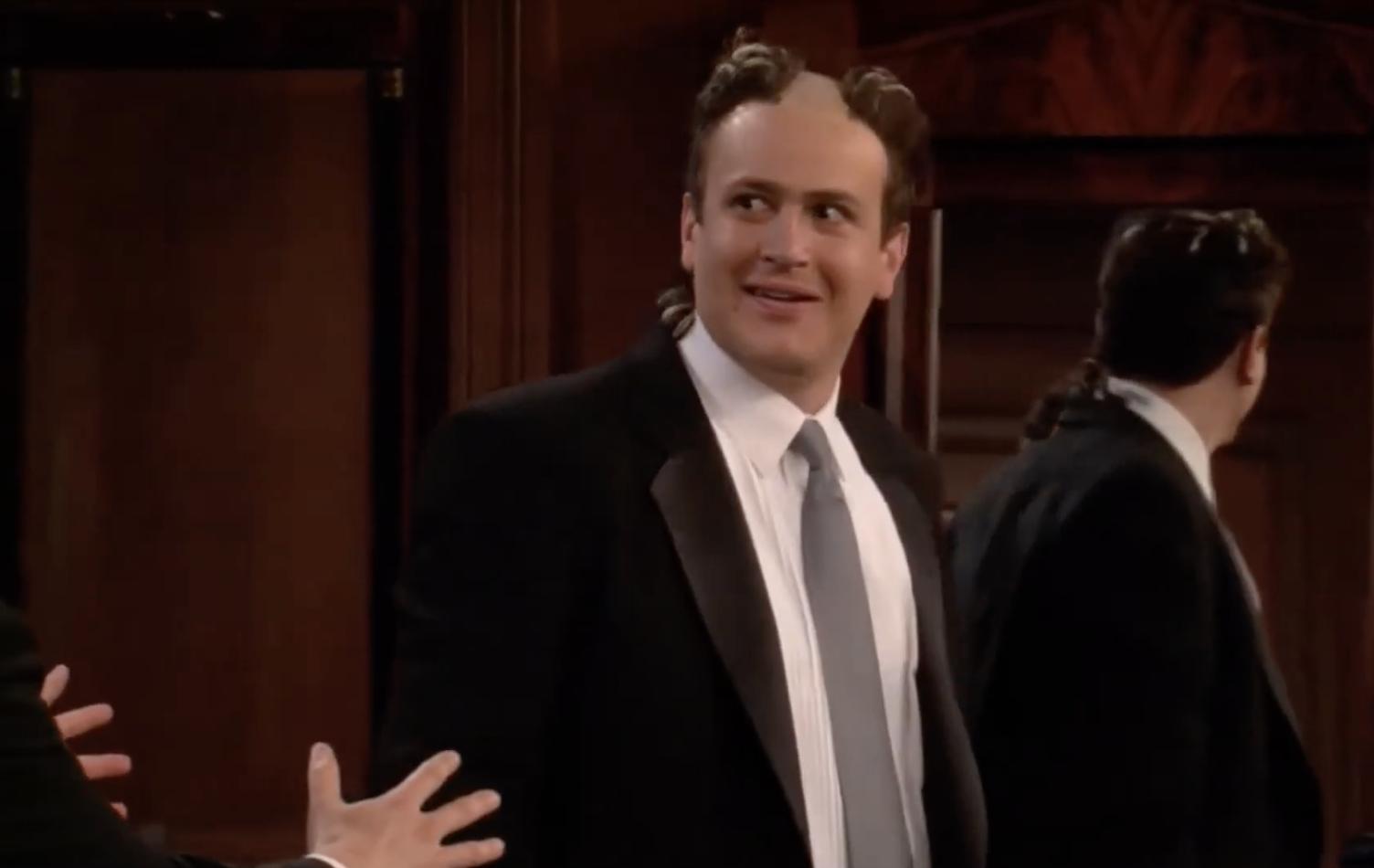 Marshal with a partially shaved head right before his wedding to Lily
