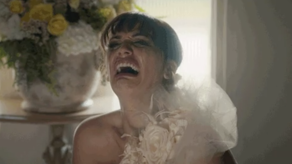 Bride crying hysterically