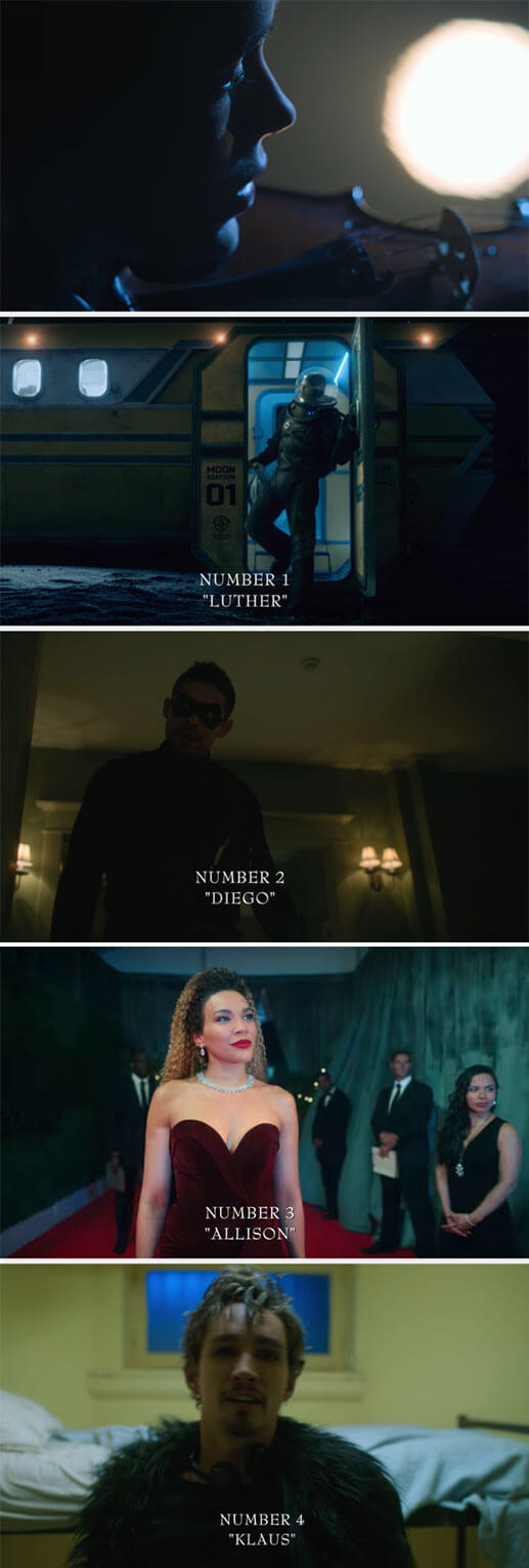 as Vanya plays the violin, we see Number 1 (Luther) on the moon, Number 2 (Diego) in a house in a mask, Number 3 (Allison) on the red carpet, and Number 4 (Klaus) in rehab