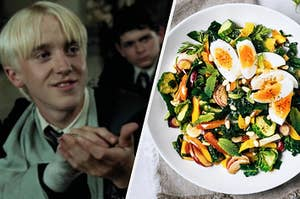"""Tom Felton as Draco Malfoy in the movie """"Harry Potter and the Order of the Phoenix"""" and a lettuce filled salad is topped with hard boiled eggs."""