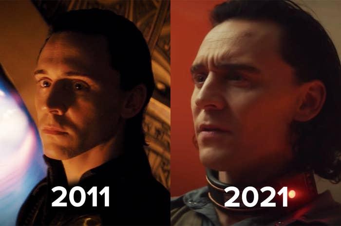 """Loki in a scene from """"Thor"""" released in 2011 vs. Loki in 2021"""