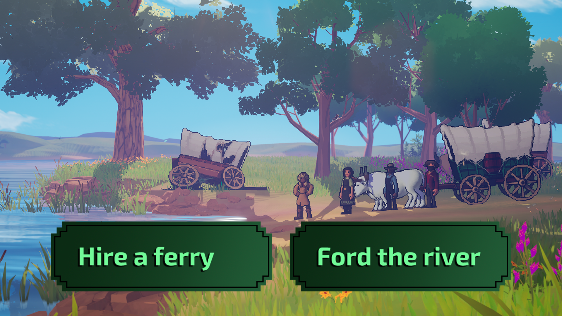 A wagon party at the edge of a river with two choices: Hire a ferry and Ford the river