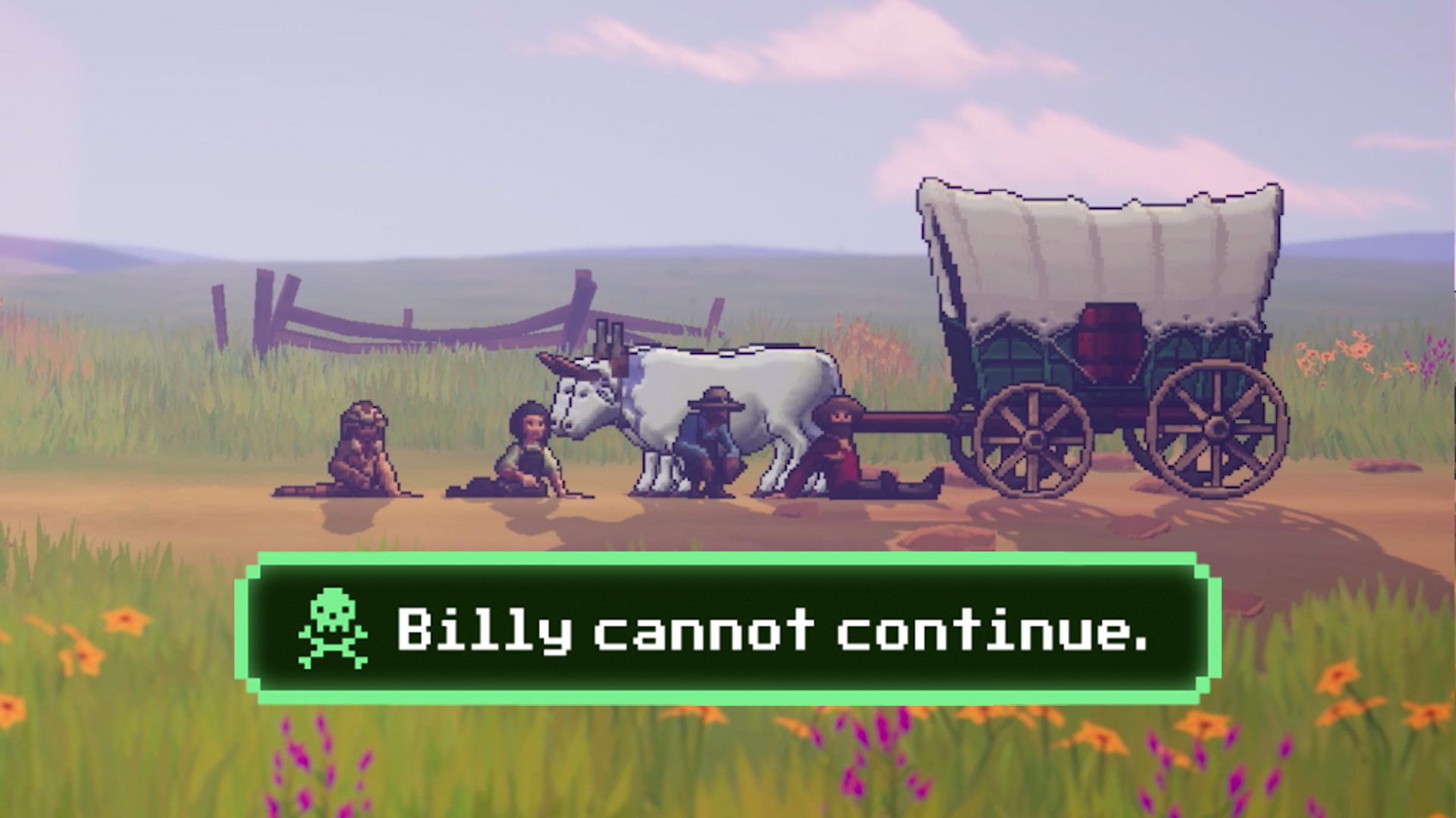 """The wagon party all sits around an injured Billy, with copy that reads, """"Billy cannot continue"""""""