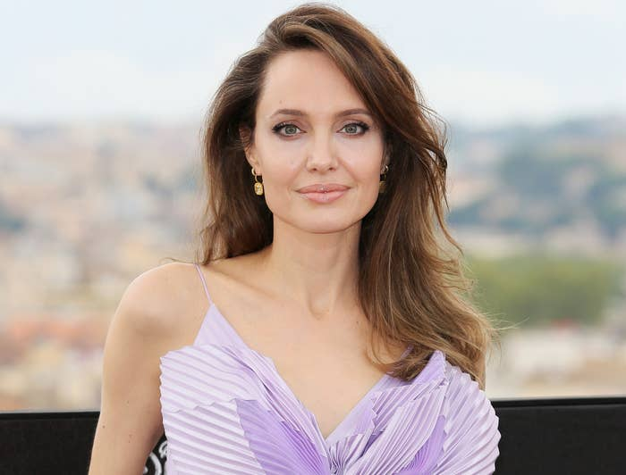 Angelina softly smiles while wearing a lilac dress to an event