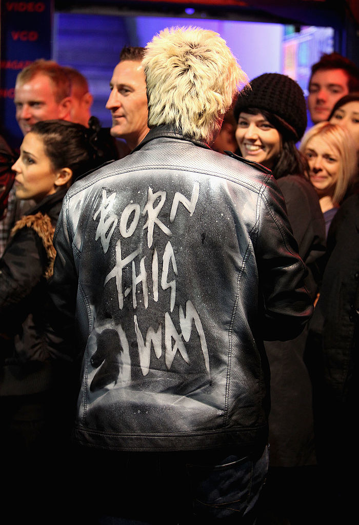 A fan wearing a Born This Way jacket