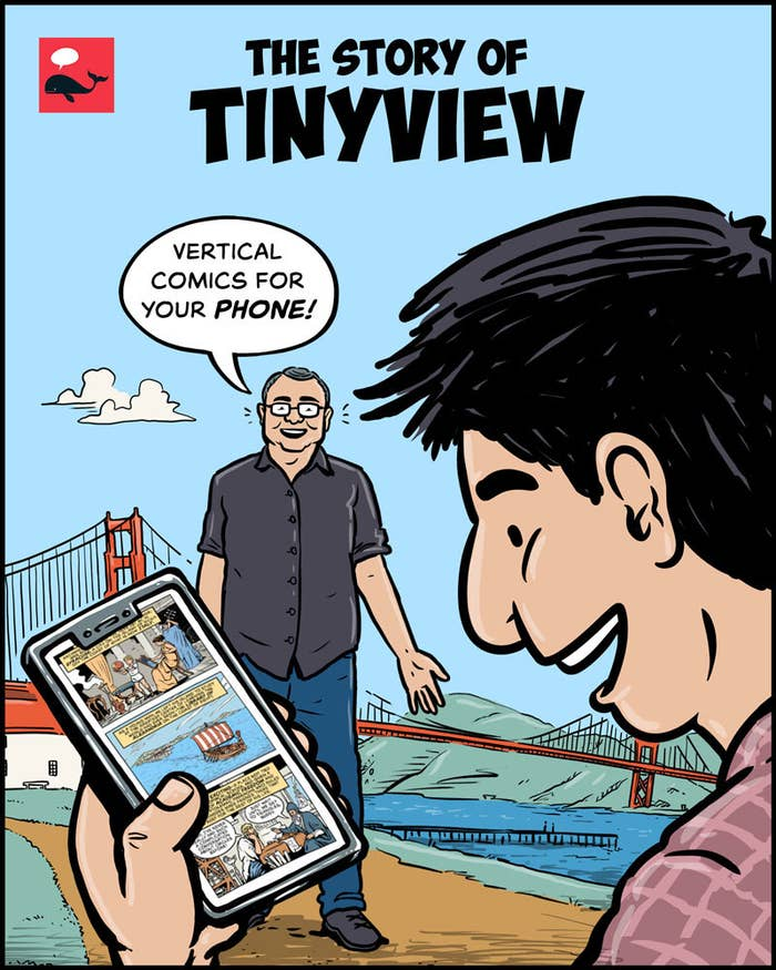 comic of guy looking at Tinyview app