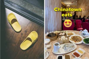 Yellow slippers in front of the balcony door and Toronto dimsum place food