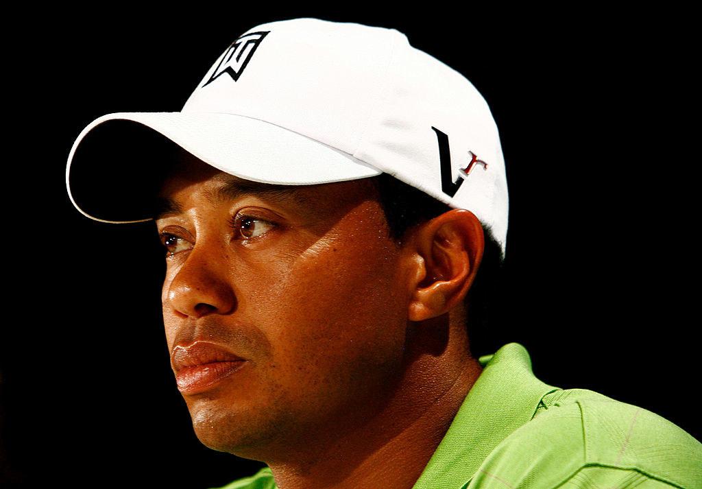 Tiger Woods wearing a cap