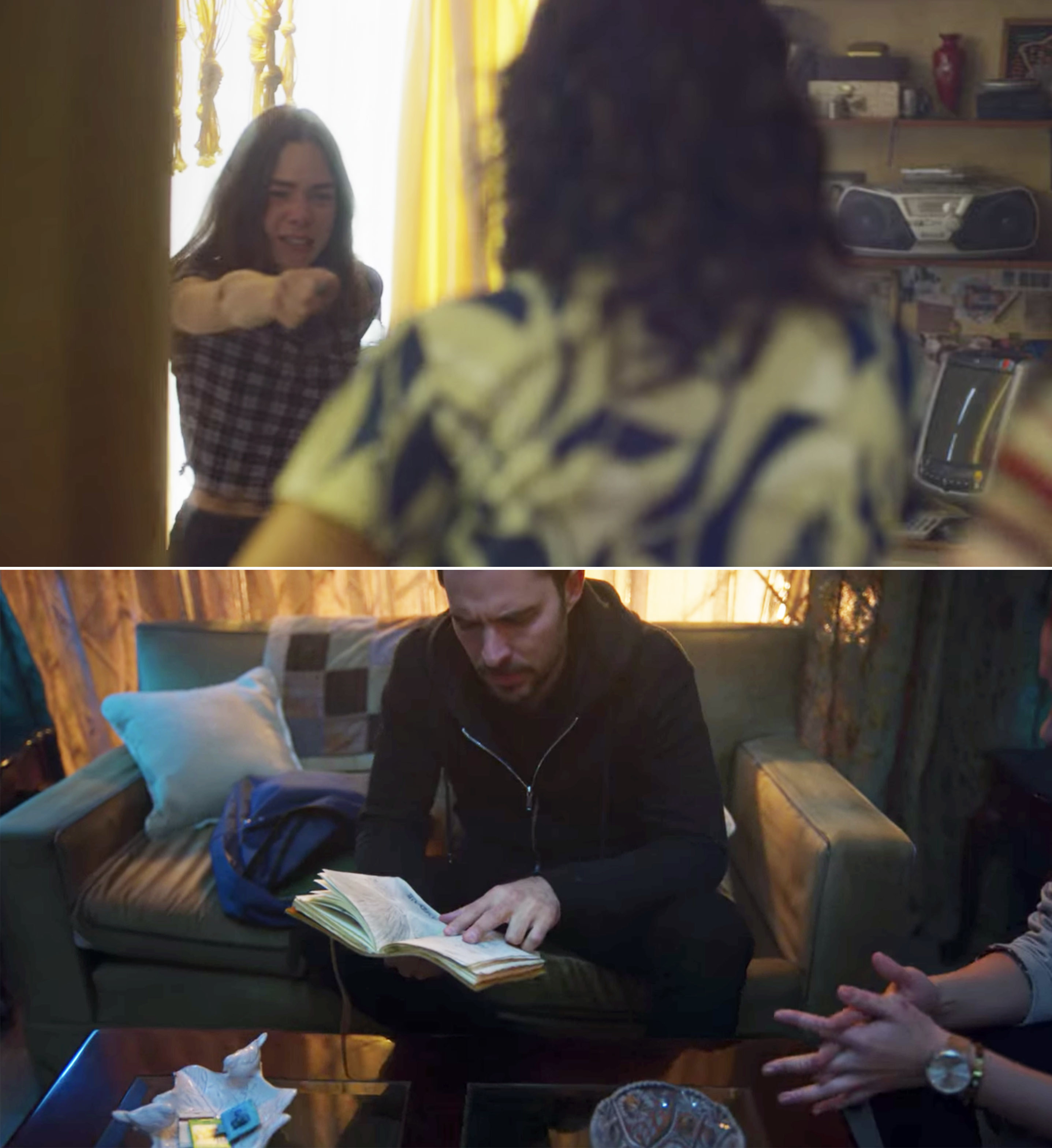 Sara attacking her mom and Alex reading Sara's journal