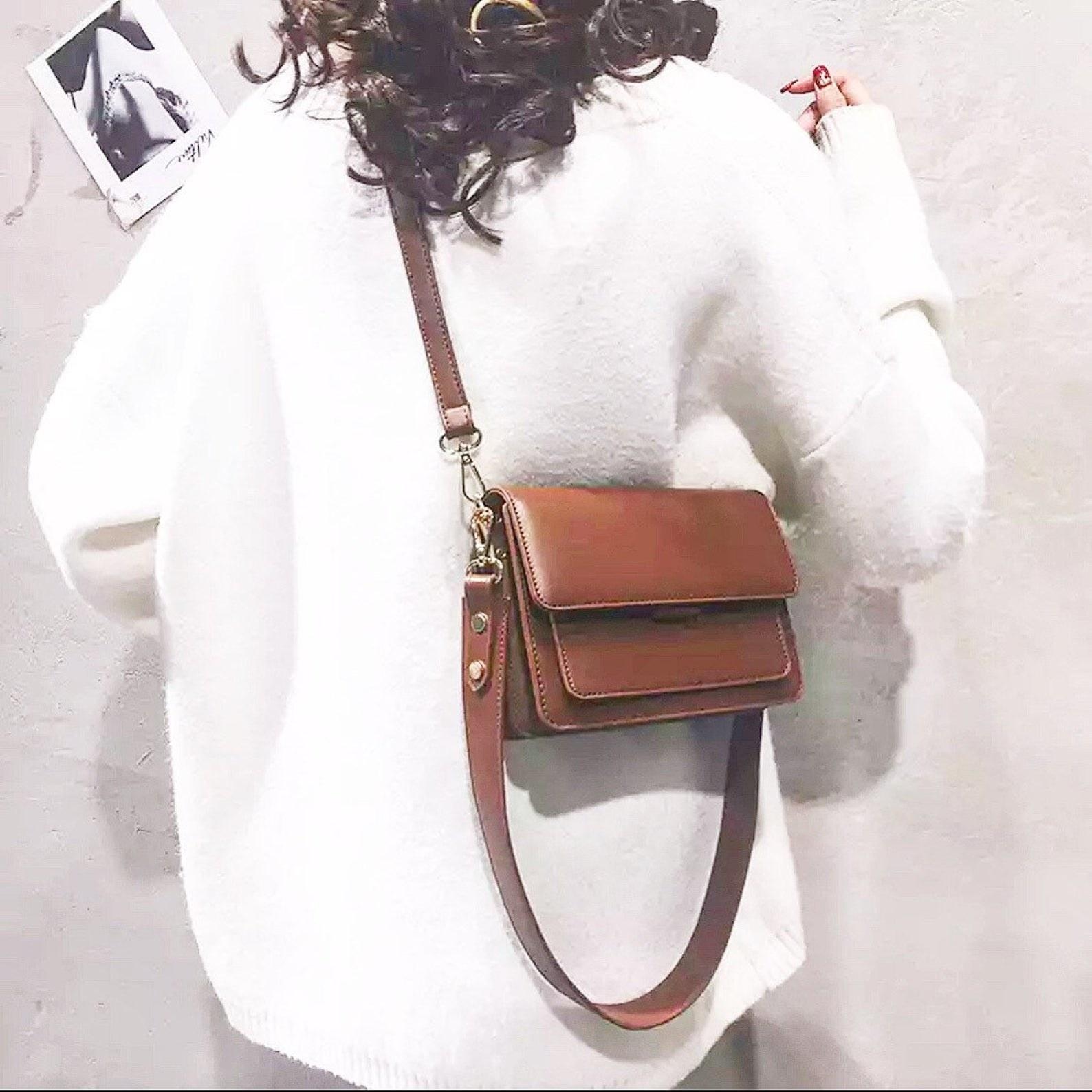 sleek brown crossbody