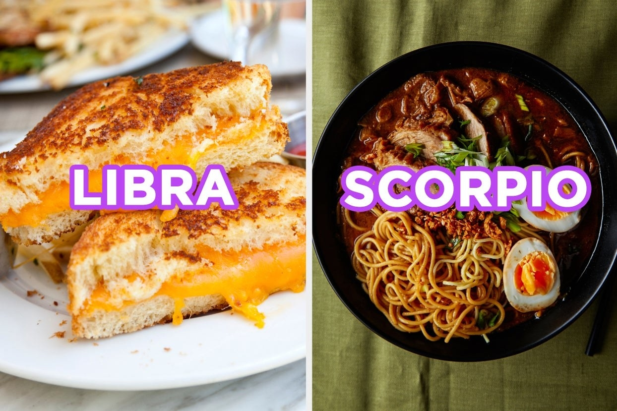 """Grilled Cheese with the word """"Libra"""" and Ramen with the word """"Scorpio"""""""