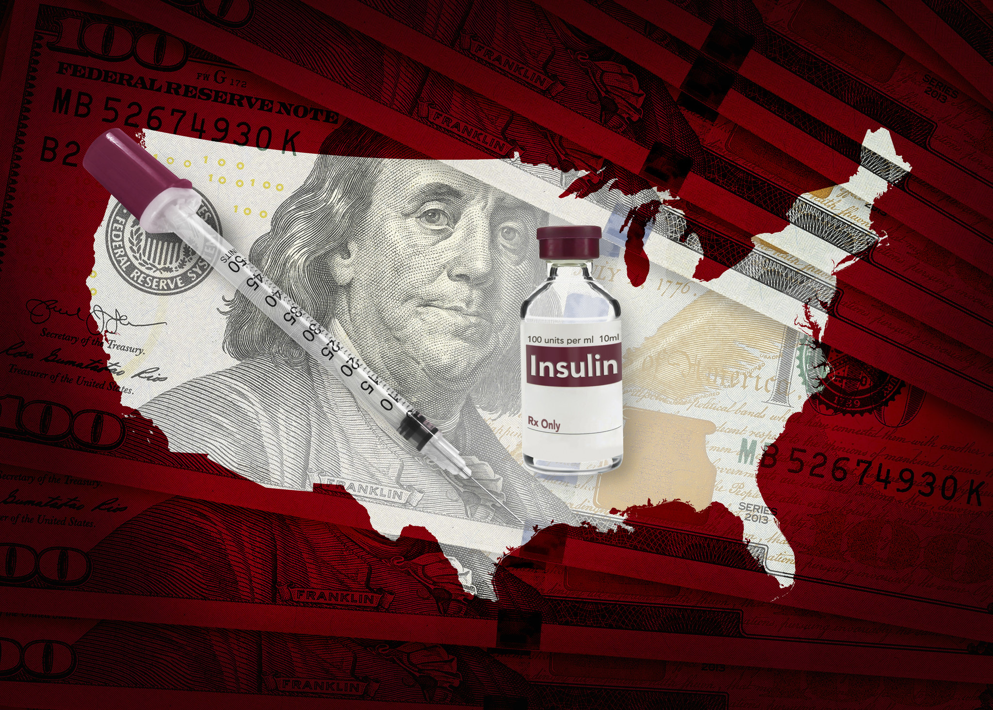 Insulin bottle and needle on top of a pile of one hundred dollar bills with a USA outline in red