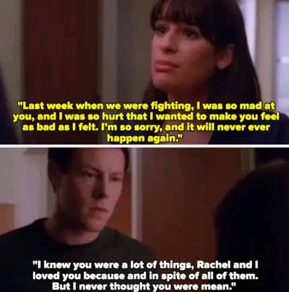 Rachel tells Finn she cheated on him with Puck because she was mad at him about Santana, Finn says he knew she was a lot of things but never thought she was mean