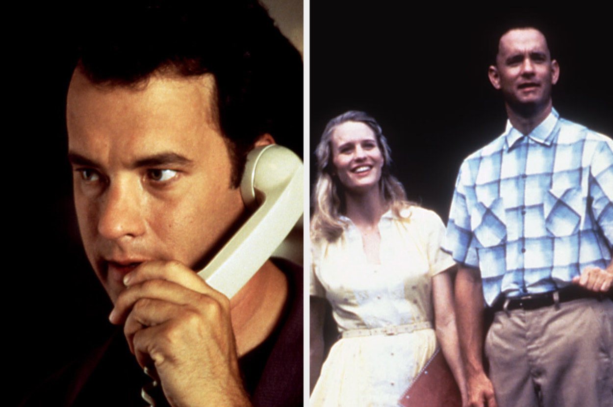 Tom Hanks in Sleepless in Seattle on the phone and in Forrest Gump with Jenny