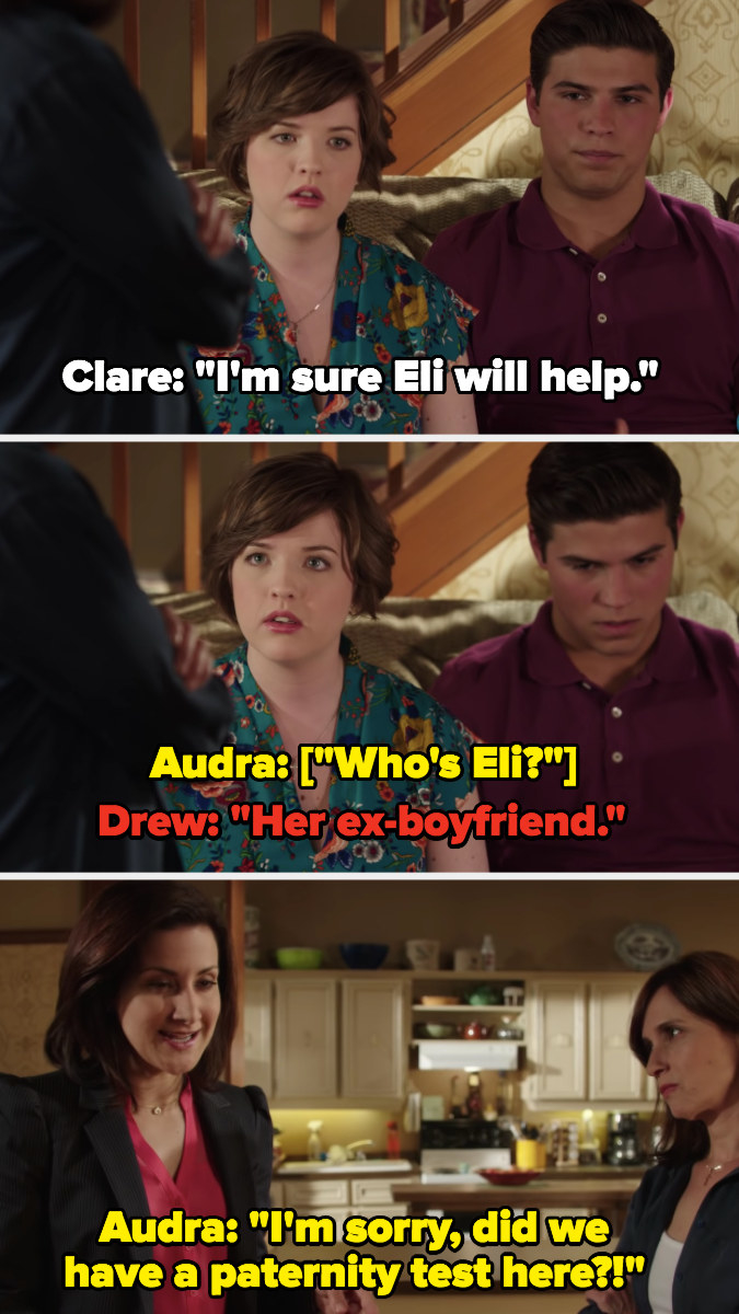 Clare says Eli will help with the baby, Audra asks if they had a paternity test