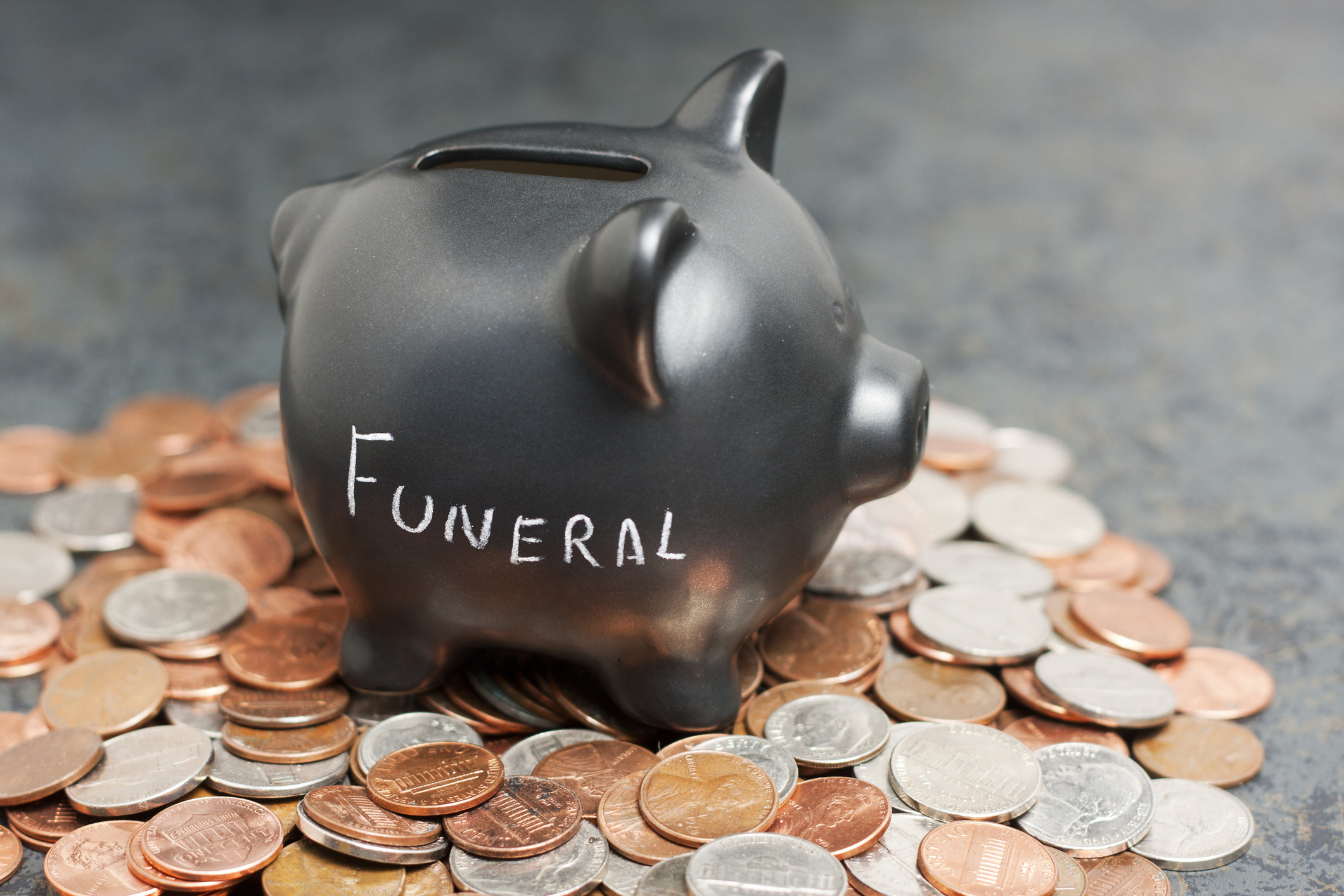 """A coin piggy-bank with """"Funeral"""" written on it sitting on a pile of coin"""