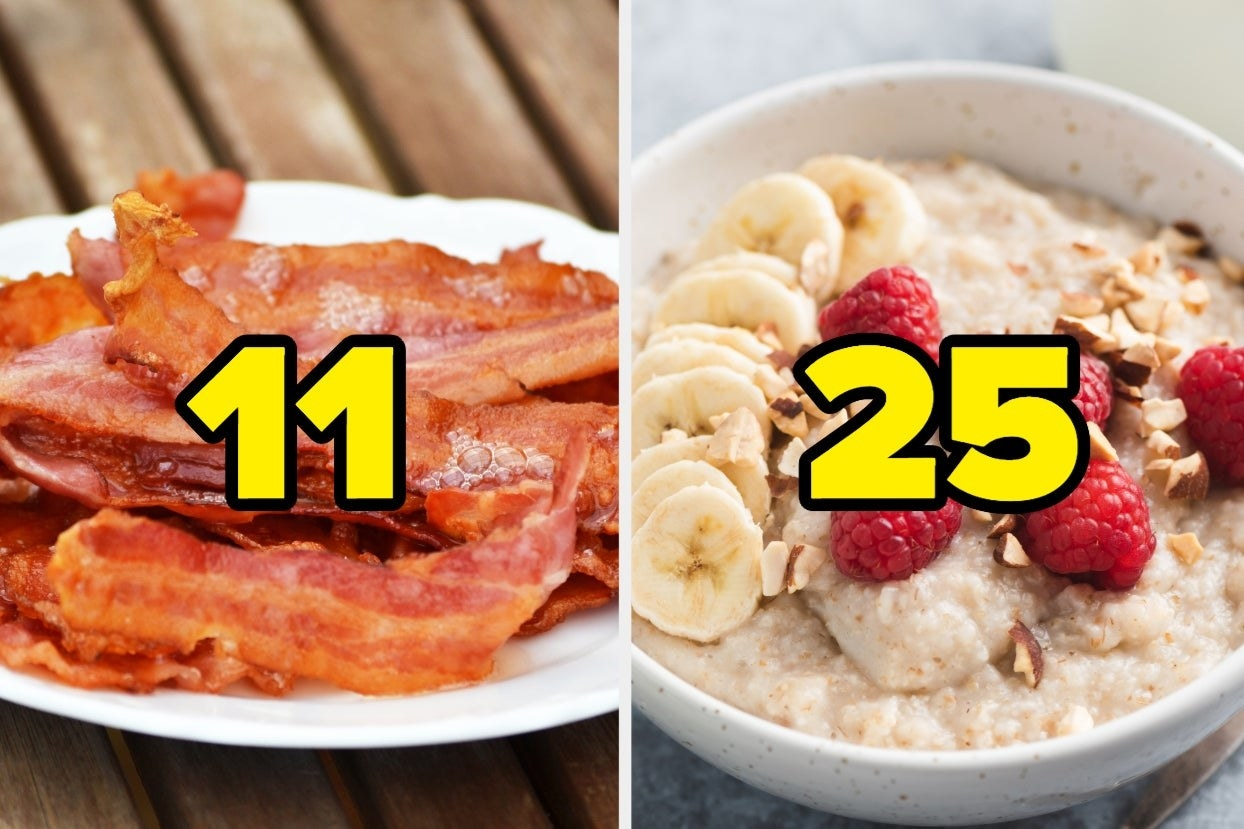 Bacon with the number 11 and oatmeal with fruits and nuts and the number 25