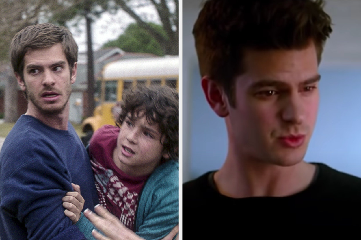 Andrew Garfield pulling his son next to him in 99 Homes and then as Peter Parker in the second Amazing Spider-Man