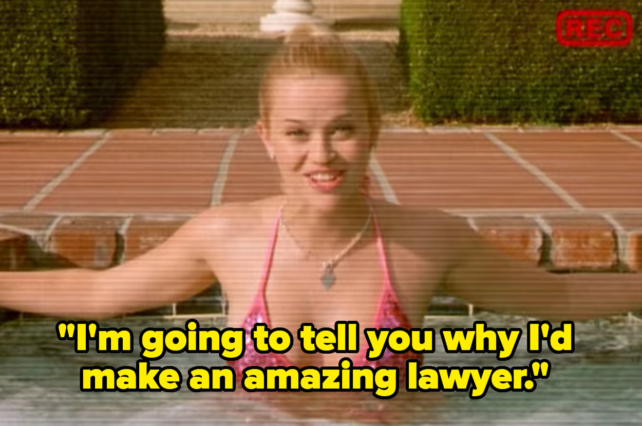 Elle Woods sends a video of herself in the pool to the Harvard Law admissions board