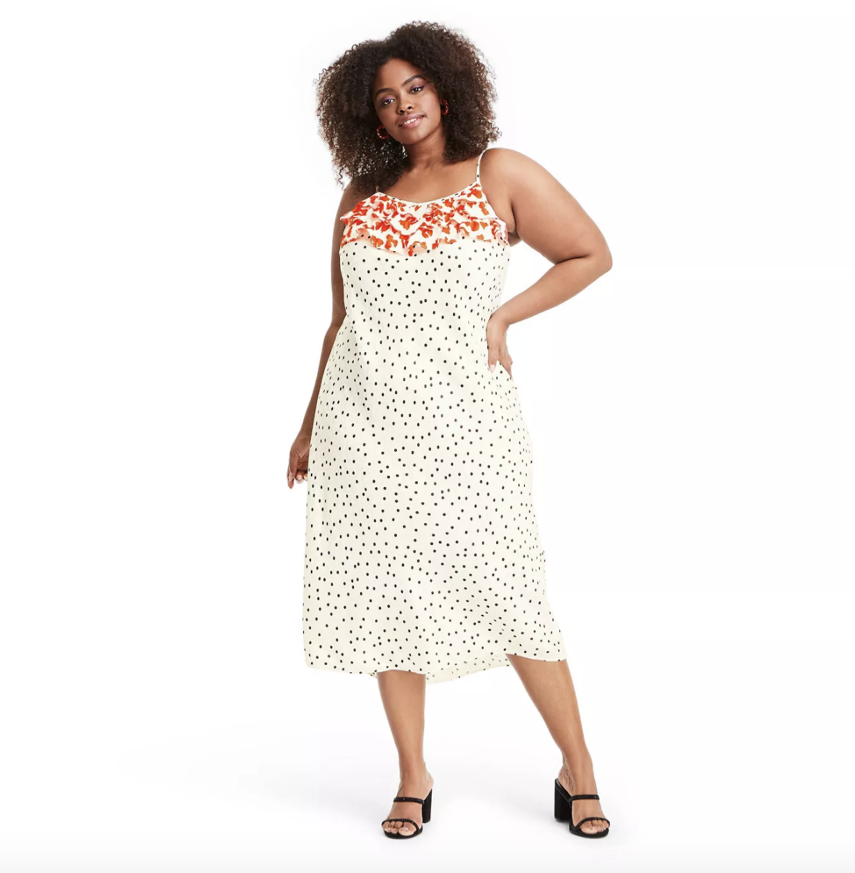 model wearing the polka dot dress