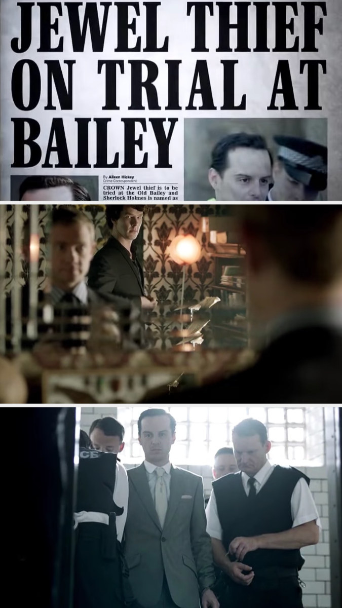 Sherlock and John get ready for Moriarty's trial as we see a newspaper introducing it and Moriarty being brought from the jail