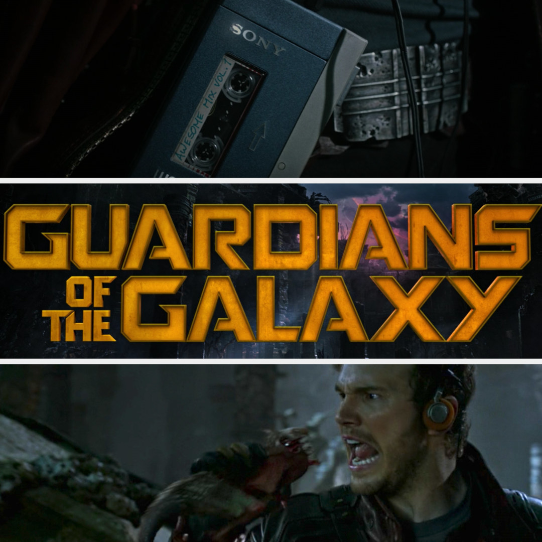 Star-Lord turns on his cassette and sings into a creature like it's a microphone and the title appears on the screen