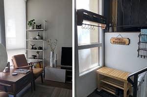 white ladder bookshelf, shoe bench in entryway