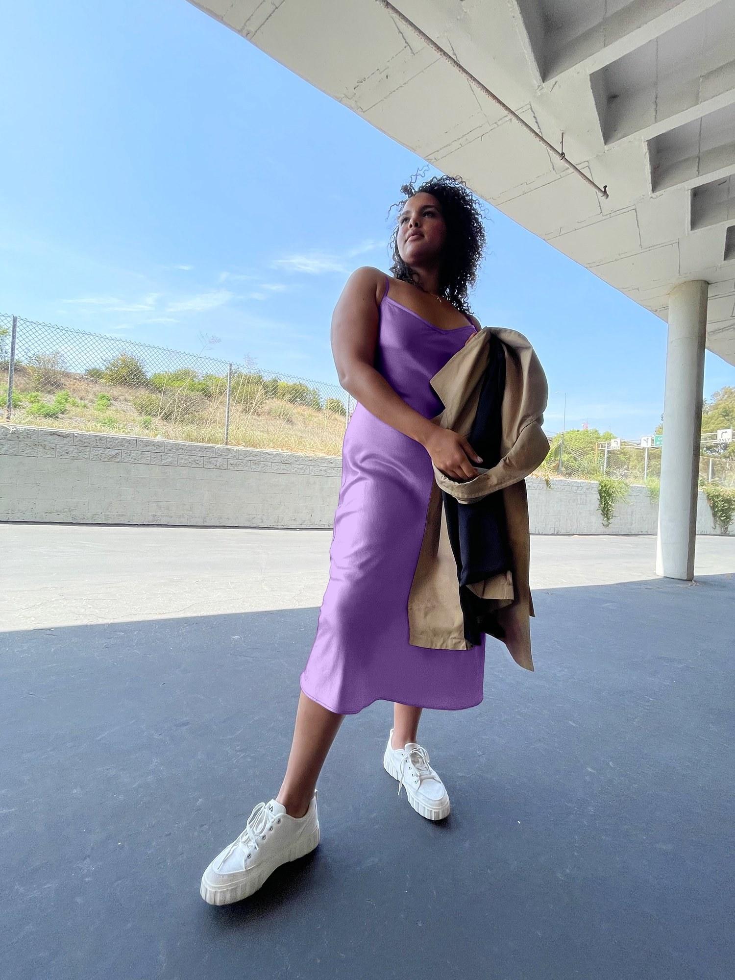 model wearing the lilac slip dress