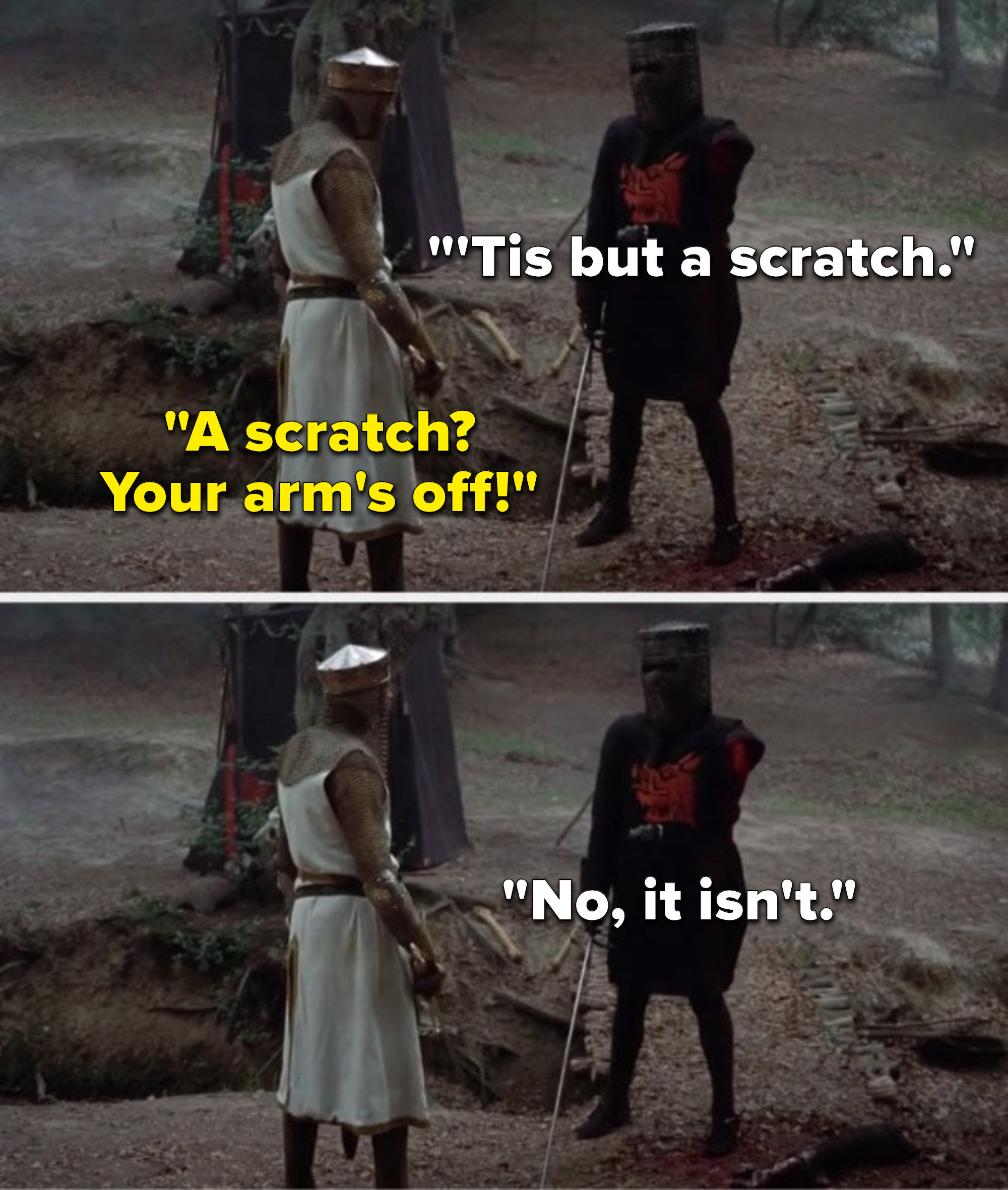 """With his arm cut off and on the ground, the Black Knight says, """"'Tis but a scratch,"""" King Arthur says, """"A scratch, your arm's off,"""" and the Black Knight says, """"No, it isn't"""""""
