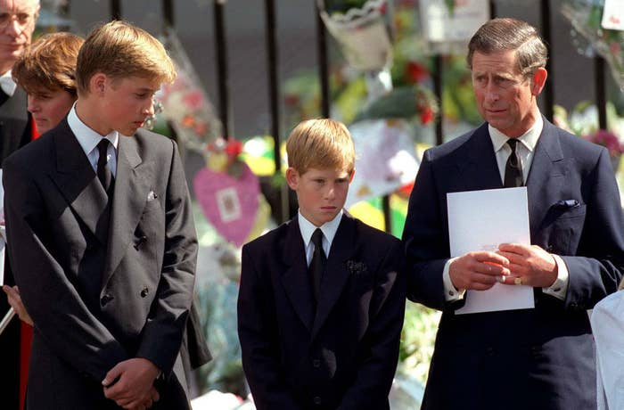 A young Harry next to his brother and father on the day of Princess Diana's funeral