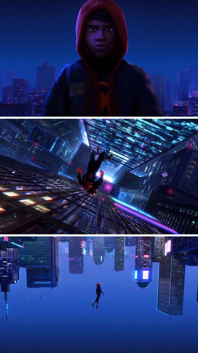 Miles Morales jumping off a building, and then it looks like he's flying up into a backwards city