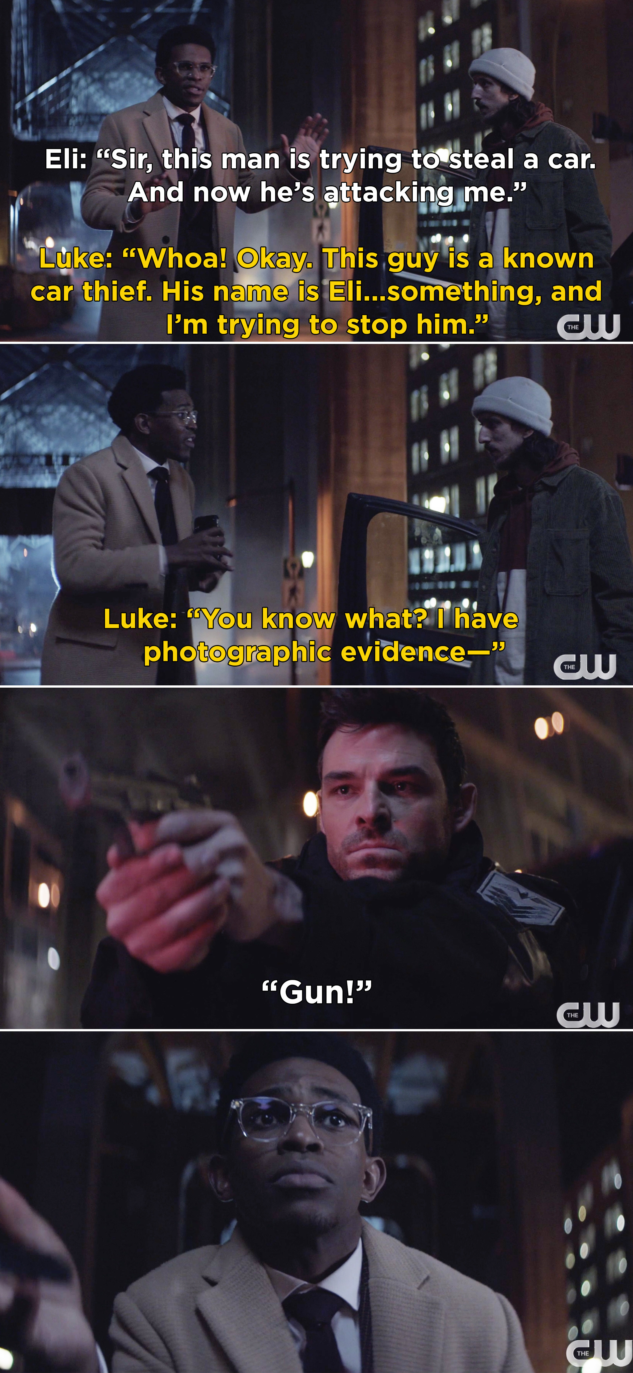Luke explaining that Eli is a known carjacker, and then The Crow shooting Luke when he takes out his cellphone