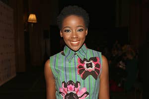 Thuso Mbedu in a floral green dress