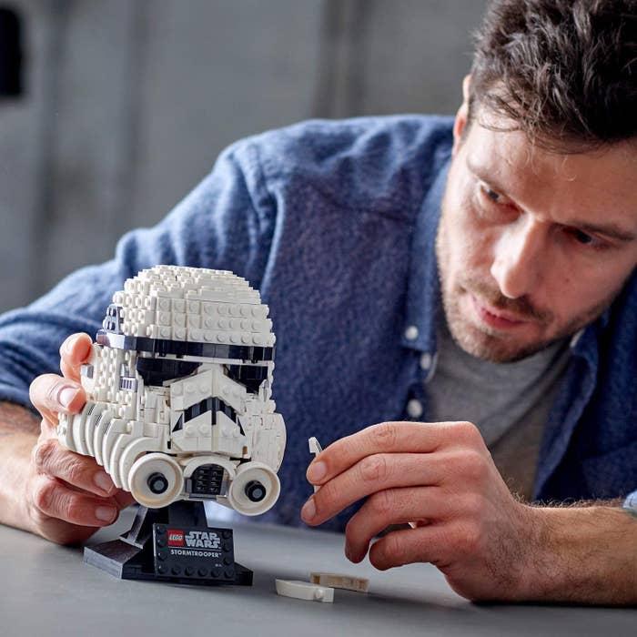 a model building the stormtrooper helmet lego set