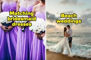 Matching bridesmaid dresses and beach weddings